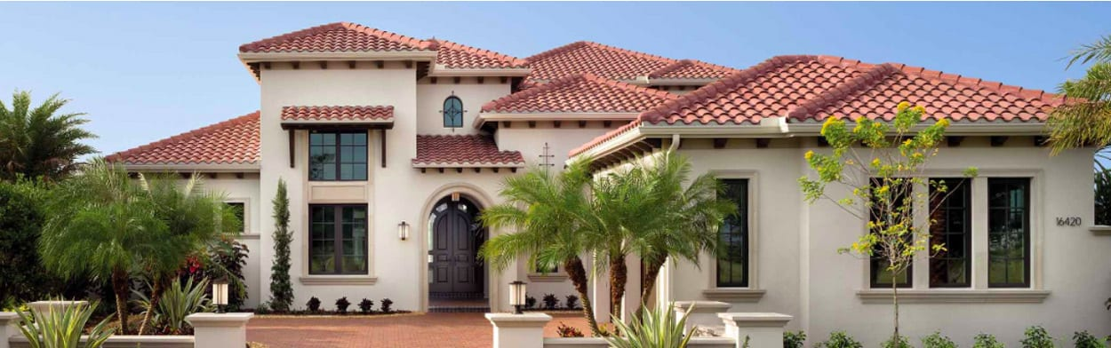 Stucco house with tile roof